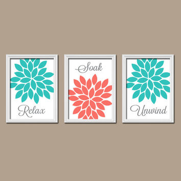 Turquoise And Coral Shower Curtain. Coral Turquoise Bathroom Wall Art Canvas Artwork Relax Soak Unwind Flower  Choose Colors Set of 3 Best Products on Wanelo