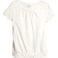 Top with Lace Sleeves - from H&M