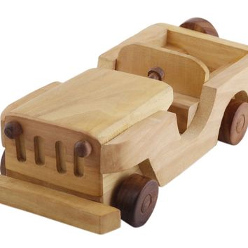 Benzara Handcrafted Open Jeep Wooden Toy for Kids, Brown