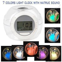 1 X Nature Sound 7 Color Changing Light Alarm Clock