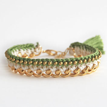 Lime green crochet bracelet with chunky chain, green tassel bracelet with beads, green and gold