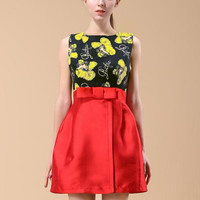 Red Sleeveless Floral Bow A-Line Mini Dress