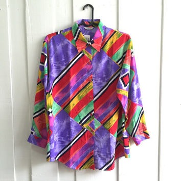 Uk size 16-18 /Vintage scarf Print baroque shirt ,ladies 's Over sized Shirt, disco shirt, Retro Shirt/ multi Coloured