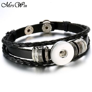 6 Colors Hot Sale Snap Leather Bracelet Retro Handmade Braided Leather Snap Button Bracelet Bangles fit 18MM Snap Jewelry