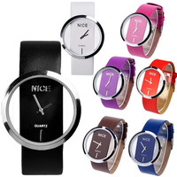 Luxury Synthetic leather Ladies Transparent Dial Wrist Watch Personality  7_S = 1916387396