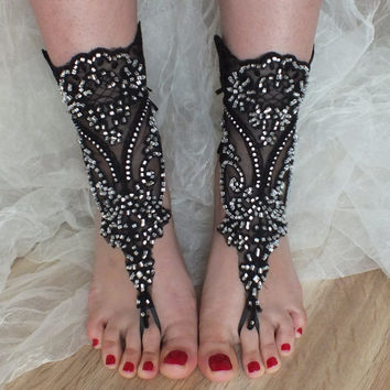 SANDALS // Black beach shoes, gothic bridal sandals, lariat sandals, wedding bridal, bellydance, gothic, wedding shoes, summer wear,