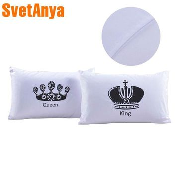 Cool 2pcs Royal Crown bedding Pillow Covers Queen King Cat Designer Pillowcase white pillow caseAT_93_12