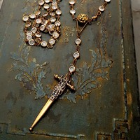 FEARLESS. Lion and Solid Bronze Sword Long Crystal Rosary Necklace