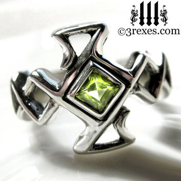Mens Celtic Cross Ring Bohemian Z Green Peridot Stone Medieval Wedding Band Unisex Size 9.5