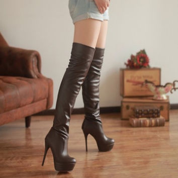 Plus Size 34-43 women boots 2016 Autumn winter Over The Knee High Boots Platform High Heels Long Thigh High Boots Shoes Woman