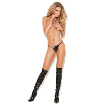 Elegant Moments EM-V9225X Vinyl g-string with chain detail