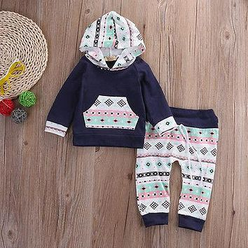 2016 Autumn style infant clothes baby Geometric clothing sets Baby Boy Girl Outfit Clothes Hoodie T-shirt Tops+Pants Set