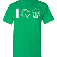 St Patrick's Day Mens Cool Fun Beer Tshirt Color Green Tees White Ink S M L XL 2XL 3XL
