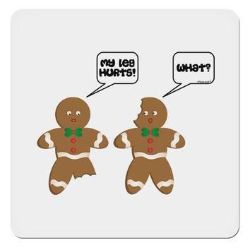 "Funny Gingerbread Conversation Christmas 4x4"" Square Sticker"