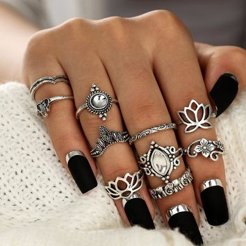 8pcs/Set Gold Color Rose Flower Midi Ring Sets for Women Silver Color Boho Beach Vintage Turkish Punk Elephant Knuckle Ring#A