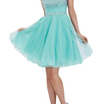 Sunvary Pale Blue Sweety 16 Rhinestone Chiffon Pageant Prom Dance Dresses Homecoming Cocktail Gowns Short - US Size 2- Pale Blue