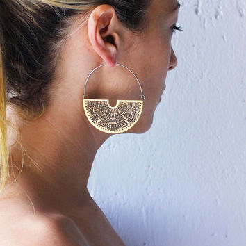 Hoop Earrings  - Tribal Earrings - Geometric Earrings - Art Deco