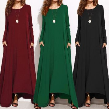 Plus Size Zanzea Women Long Sleeve Casual Solid Kaftan Long Maxi Dress Caftan