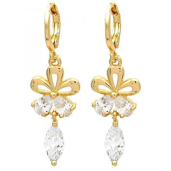 Gold Layered Long Earring, Flower and Teardrop Design, with Cubic Zirconia, Gold Tone