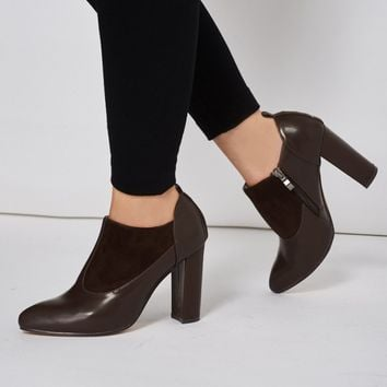 Faux Suedette Leatherette Boot With Stitching Details