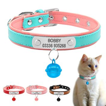 Bell Pendant Leather Cat Collars