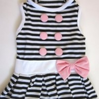 Small Dog Cloth Black and White Stripe Dog Dress for Summer (S)