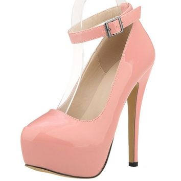 Wedding Bridal Shoes Ankle Strap Women Pumps Platform Ultra Very High Heels Stilettos Pink Green Gray