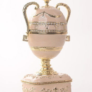 Baby Pink Faberge Egg with Gold Handles Handmade Trinket Box by Keren Kopal Decorated with Swarovski Crystals Gold Plated