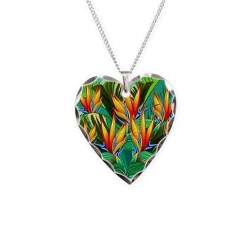BIRD OF PARADISE FLOWER EXOTIC NATURE NECKLACE