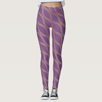 Contemporary Purple and Gold Dot Waves Patterned Leggings