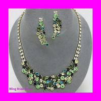 Ombre Green Evening Cocktail Crystal Rhinestone Cluster Necklace On Gold Tone