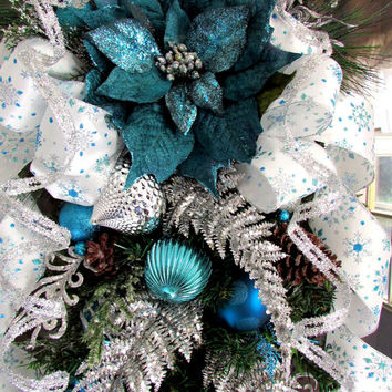 Christmas wreath, Christmas swag, teardrop vertical wreath, holiday swag, elegant wreath, turquoise white silver, holiday wreath, XL wreath