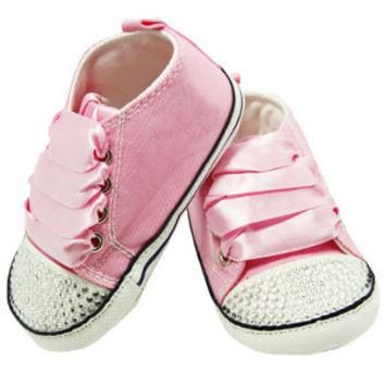 Pink Rhinestone Converse Inspired Baby Crib Shoes - Bling Baby Shoes - Baby Shower Gif