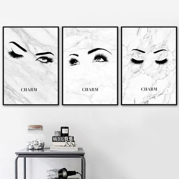 Marble Fashion Sexy Girl Eyes Eyelash Wall Art Canvas Painting Nordic Posters And Prints Wall Pictures Living Room Quadro Decor