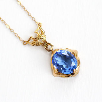 Vintage 10k Yellow Gold Simulated Sapphire Necklace - Art Deco 1930s Lavalier Pendant Oval Cornflower Blue Stone Filigree Jewelry