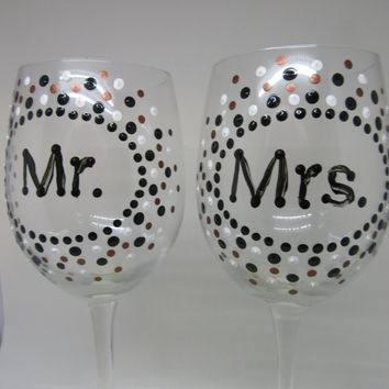 Hand Painted MR. and MRS. Stemware Wine Glasses - Black White and Bronze Polka Dots - SET of 2
