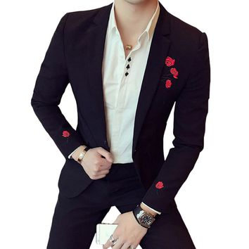 Cloudstyle Men Brand Red Flower Blazers Jackets Formal Dress Suits Men's Casual Fashion Slim Fit Single Button Style