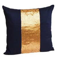 Amore Beaute Handcrafted Throw pillows- Navy blue gold color block in art silk with sequin bead detail cushion covers- sequin pillow covers- 20 x 20 Navy blue pillow cover - Gold sequin pillows