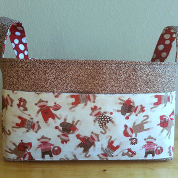 Large Fabric Storage Bin Basket with Outside Pockets- Sock Monkeys with Coordinating Fabric