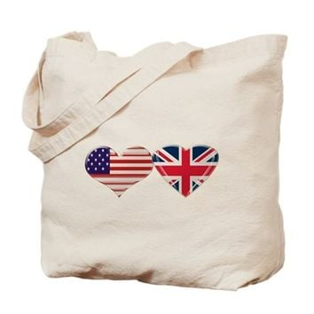 USA AND UK HEART FLAG TOTE BAG
