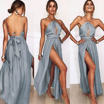 Solid Color Sexy Backless Halter Dress