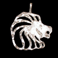 Sterling Silver Lion Head Charm, Gift For Him, 1 1/2 inch high