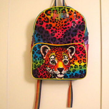 Lisa Frank Backpack    vintage 90s rainbow hunter leopard backpa 6db87fa72c0a2