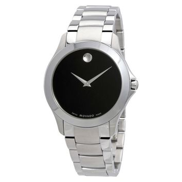 Movado Masino Black Dial Stainless Steel Mens Watch 0607032