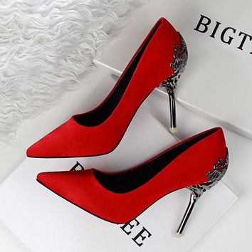 Sexy Brand Mental Heel Womens Shoes Suede leather Red Bottom High Heels