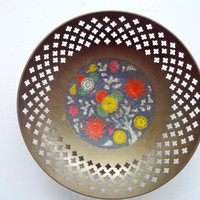 Vintage Decorative Brass Bowl Floral Print Made in India 1970s