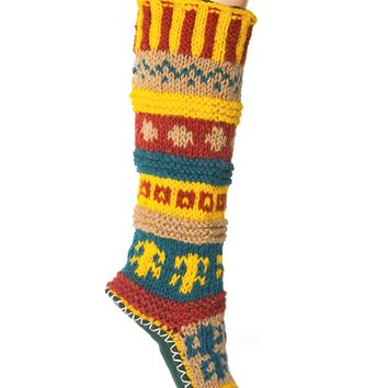 Green Hand Knit Wool Long Slipper Socks | Tibetan Socks