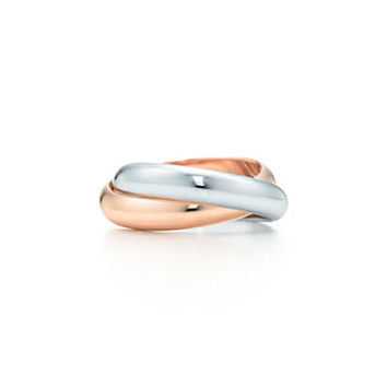 Tiffany & Co. - Paloma's Calife double band ring in 18k white and rose gold.