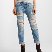 Shredded Medium Wash Boyfriend Jean