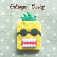 Handmade Felt Pineapple Earphone Cord Organizer Felt Cable Keeper Pineapple Earphone Cable Organizer Earphone Wire Holder Cable Catch